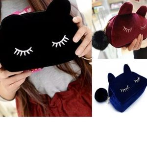 Accessories - Adorable velvety makeup bag in various cute colors